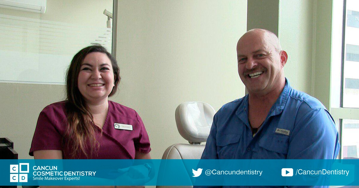 Dentist in Cancun, Doctor Krishna, testimonial review, patient with dental implants and dental crowns