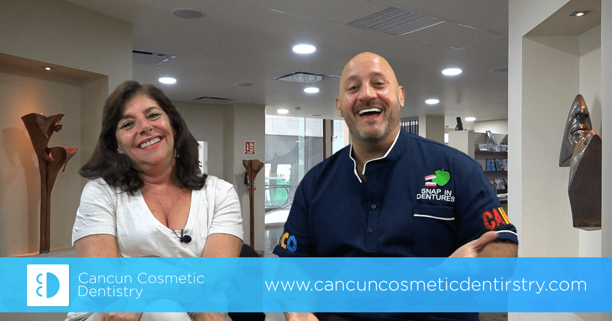 Patient happy to come back! Returning patient visits dentist in Cancun!