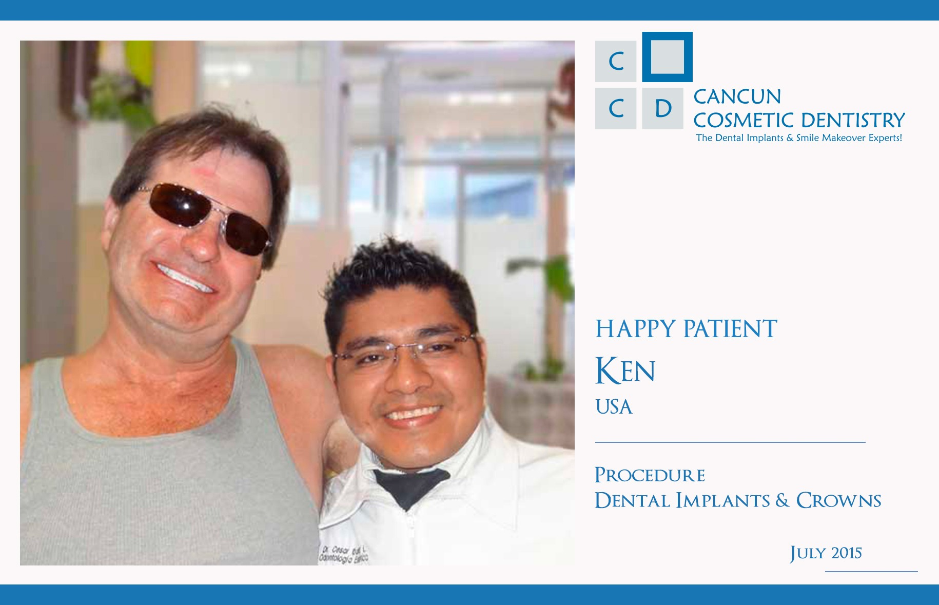 Dental Implants and Crown Cancun Cosmetic Dentistry Review Happy Patient
